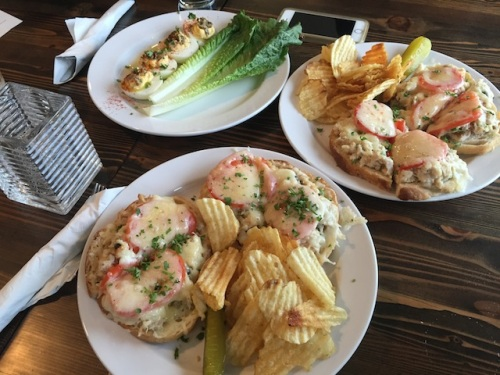 smoked tuna melt sandwiches and oyster deviled eggs